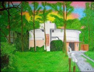 gebouw, aquarel